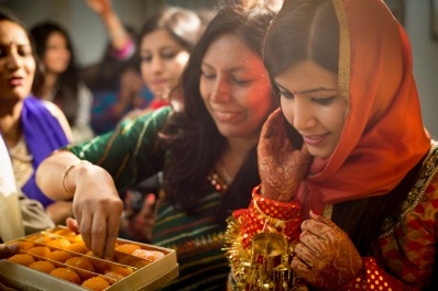 Indian bride with family