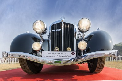 Front low angle view of Maybach SW38C vintage car 1937 model