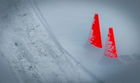 Red cones on Snow
