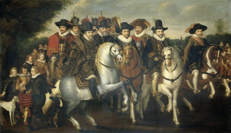 Prince Maurice Accompanied by his two Brothers, Frederick V, Elector Palatine, and Counts of Nassau on Horseback, c. 1625
