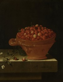 A Bowl of Strawberries on a Stone Plinth, 1696