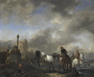 Watering Horses near a Boundary Marker, 1650 - 1668